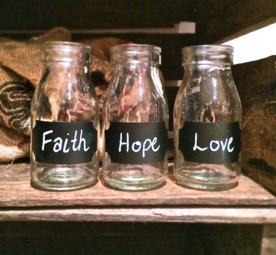Milk Bottles Decor Faith Hope & Love