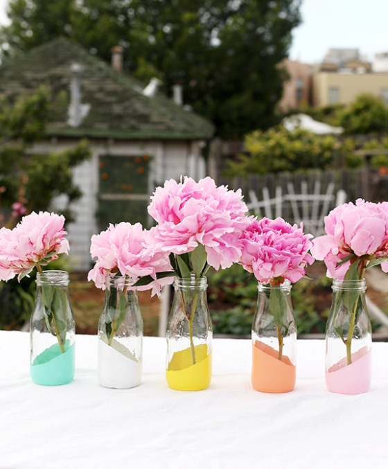 Paint Dipped Milk Bottles